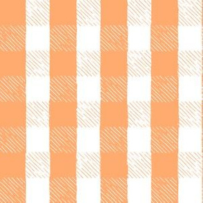 Tangerine + White Inky Gingham // Hand Drawn Details // Sing for Your Supper Modern Farmhouse Collection (Autumn Edition)