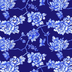 chinoiserie floral on navy small scale