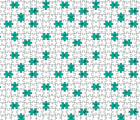 puzzled | teal fabric by handmadephd on Spoonflower - custom fabric