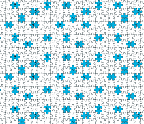 puzzled | blue fabric by handmadephd on Spoonflower - custom fabric