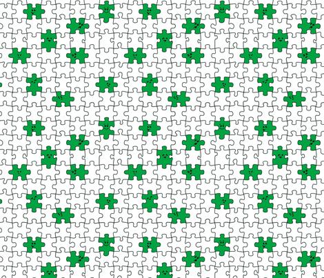 puzzled | green fabric by handmadephd on Spoonflower - custom fabric