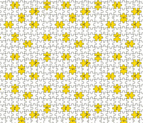 puzzled | yellow fabric by handmadephd on Spoonflower - custom fabric