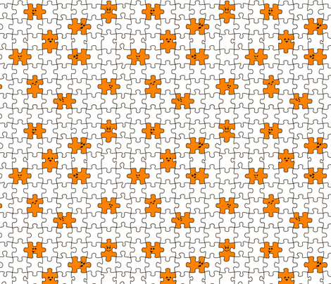 puzzled | orange fabric by handmadephd on Spoonflower - custom fabric