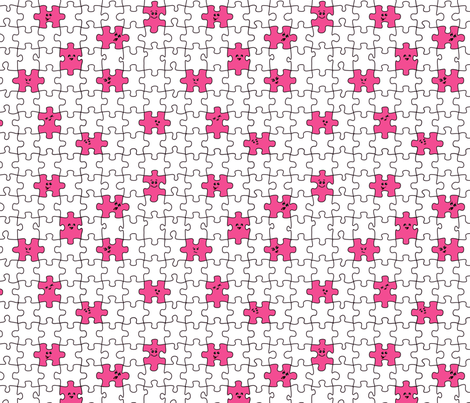 puzzled | pink fabric by handmadephd on Spoonflower - custom fabric