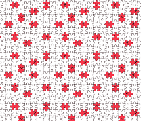 puzzled | red fabric by handmadephd on Spoonflower - custom fabric