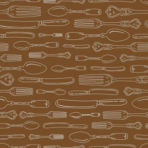 Mocha Brown Vintage Silverware Stripe Outline // Sing for Your Supper - Autumn Edition // Modern Farmhouse Collection