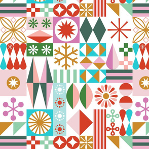 Santa's Workshop Pillow Panel*    geometric star stars starburst snowflake snowflakes grid christmas holiday stripes cut and sew diy home decor