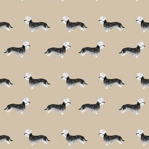 dandie dinmont terrier fabric - pepper dog coat, dandie dinmont dog fabric, terrier dog fabric, dog breed fabric - khaki