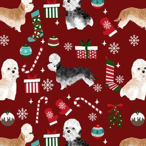dandie dinmont terrier christmas fabric - dog breed christmas fabric, dog christmas fabric, terrier dog fabric, dandie dinmont terrier, cute dog wrapping paper, dandie dinmont gift wrap - burgundy