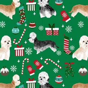dandie dinmont terrier christmas fabric - dog breed christmas fabric, dog christmas fabric, terrier dog fabric, dandie dinmont terrier, cute dog wrapping paper, dandie dinmont gift wrap - green