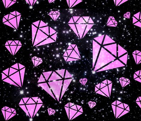 pink diamond black galaxy fabric by shape_shifters on Spoonflower - custom fabric