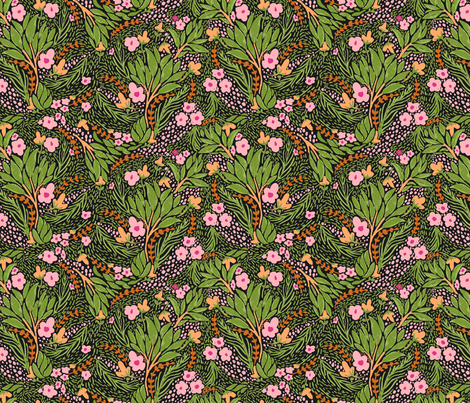 Dense Dancing Leaves with Pink Flowers fabric by sobonnydesigns on Spoonflower - custom fabric