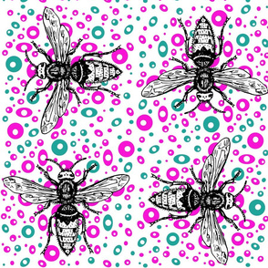 busy bees in pink and blue