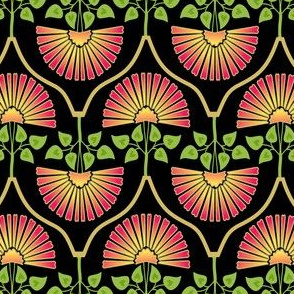 Carnation Pattern Black pink
