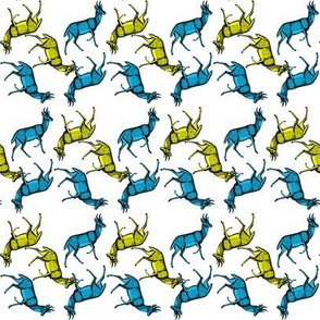 short horned deer in blue and yellow