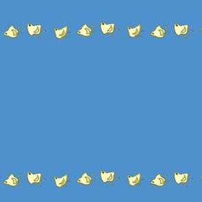 little chicks on medium blue