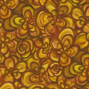 Painterly Floral Amber Yellow large scale