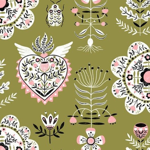 Retro Folky Floral in Olive and Pink