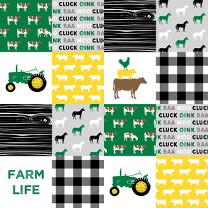 farm life - wholecloth green, custom yellow, and black - woodgrain custom cows C18BS