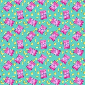 (micro scale) bag of chips - pink on teal