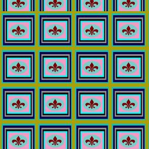 Red Fluer-de-lis & Multi colored geometric rectangular boxes