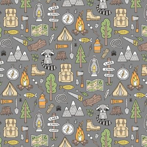 Outdoors Camping Woodland Doodle with Campfire, Raccoon, Mountains, Trees, Logs on Dark Grey Smaller 1,5 inch