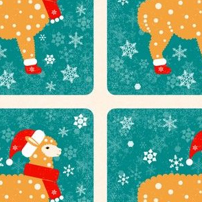 Alpaca in a Christmas boots, hat and scarf