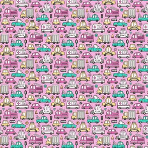 Cars Vehicles Doodle fabric on Magenta Pink Tiny Small