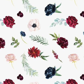 Navy and Burgundy Watercolor Flowers Pattern on Light Gray | Autumn Garden Collection K074