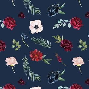 Navy and Burgundy Watercolor Flowers Pattern on Navy Blue | Autumn Garden Collection K074