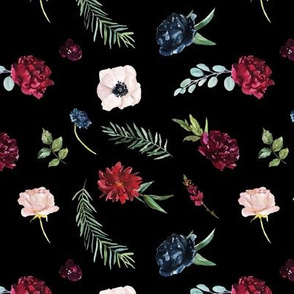 Navy and Burgundy Watercolor Flowers Pattern on Black | Autumn Garden Collection K074