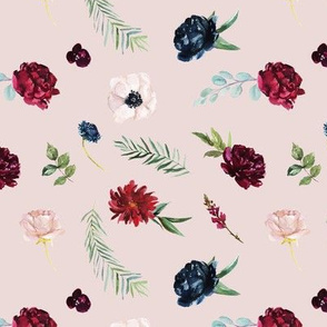 Navy and Burgundy Watercolor Flowers Pattern on Pale Pink | Autumn Garden Collection K074