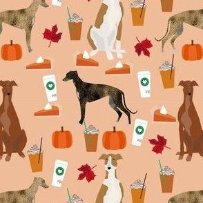greyhound pumpkin spice latte fabric - dog fabric, greyhound fabric, greyhound fabric by the yard, fall autumn fabric, psl fabric, pumpkin spice latte design - peach
