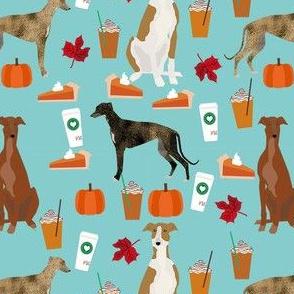 greyhound pumpkin spice latte fabric - dog fabric, greyhound fabric, greyhound fabric by the yard, fall autumn fabric, psl fabric, pumpkin spice latte design -  blue