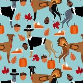 greyhound thanksgiving fabric - dog fabric, greyhound fabric, thanksgiving fabric, dog breeds fabric, cute dog fabric, dog wrapping paper, greyhounds gift wrap - blue