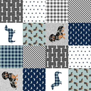 dapple dachshund cheater quilt - pet quilt b, cute navy plaid cheater quilt, doxie dog quilt, dog quilt, dog design