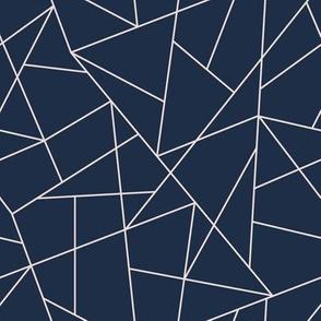Navy Blue and Blush Pink Geometric Triangle Pattern K074