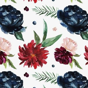 Navy and Burgundy Large Floral Blooms Pattern | Autumn Garden Collection K074
