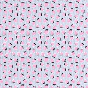 (micro scale) strawberries - pink on blue stripes C18BS