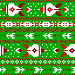 fair isle rockets green red white