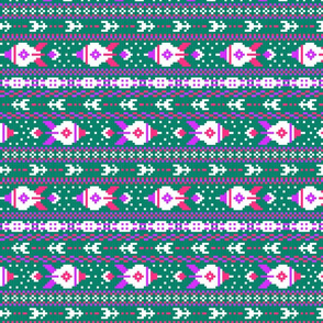 fair isle rockets pink purple blue