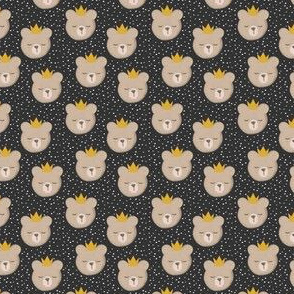 "(3/4"" scale)  bears with crowns - polka on grey C18BS"