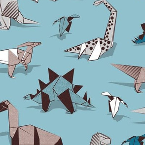 Origami dino friends // normal scale // spaced version // blue background paper white & blue dinosaurs