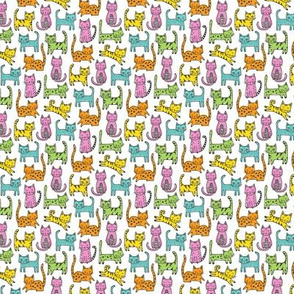 Cats with Stripes Coloured Tiny Small