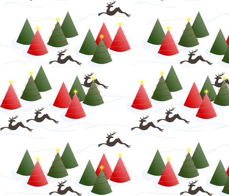 Dashing Through the Snow: White Christmas Scene fabric by dept_6 on Spoonflower - custom fabric