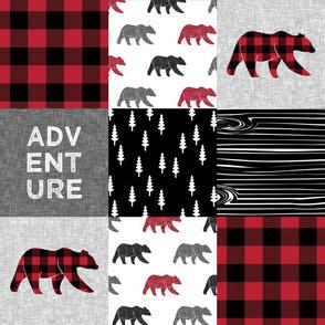 Adventure (bears) patchwork quilt top || buffalo plaid