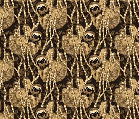 sloth cloth sepia fabric by leroyj on Spoonflower - custom fabric