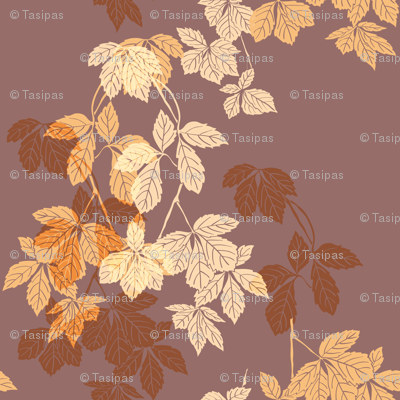 Liana floral pattern on the brown