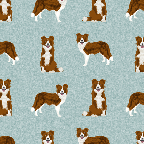 border collie fabric - dog fabric, dog breeds fabric, red border collie, dog breed fabric - blue fabric by petfriendly on Spoonflower - custom fabric