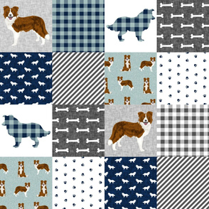 border collie cheater quilt fabric, dog quilt fabric, red border collie, cute border collie dog, dogs fabric, dog breeds fabric - pet quilt b